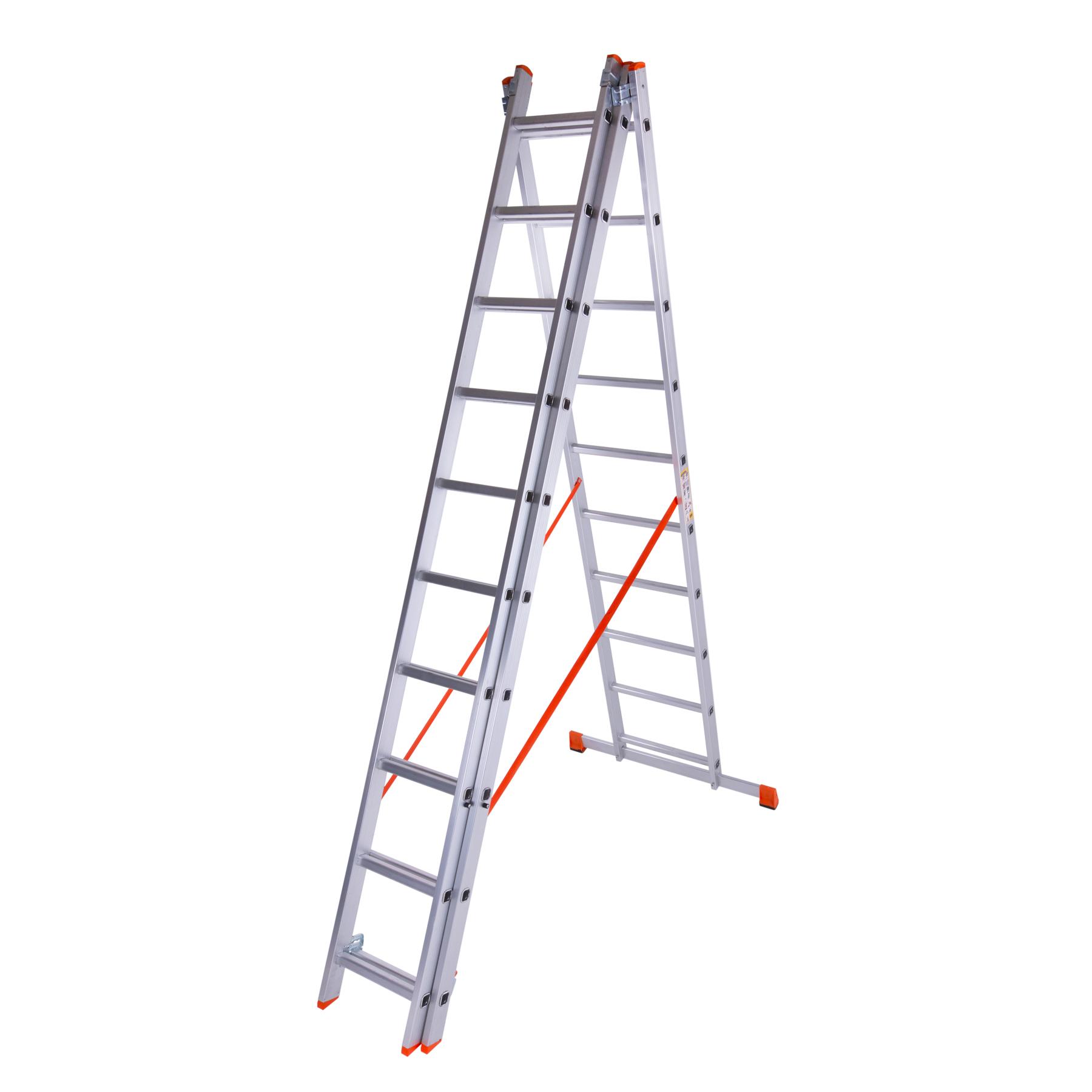 Лестница трехсекционная алюминиевая 3x10 ступенек