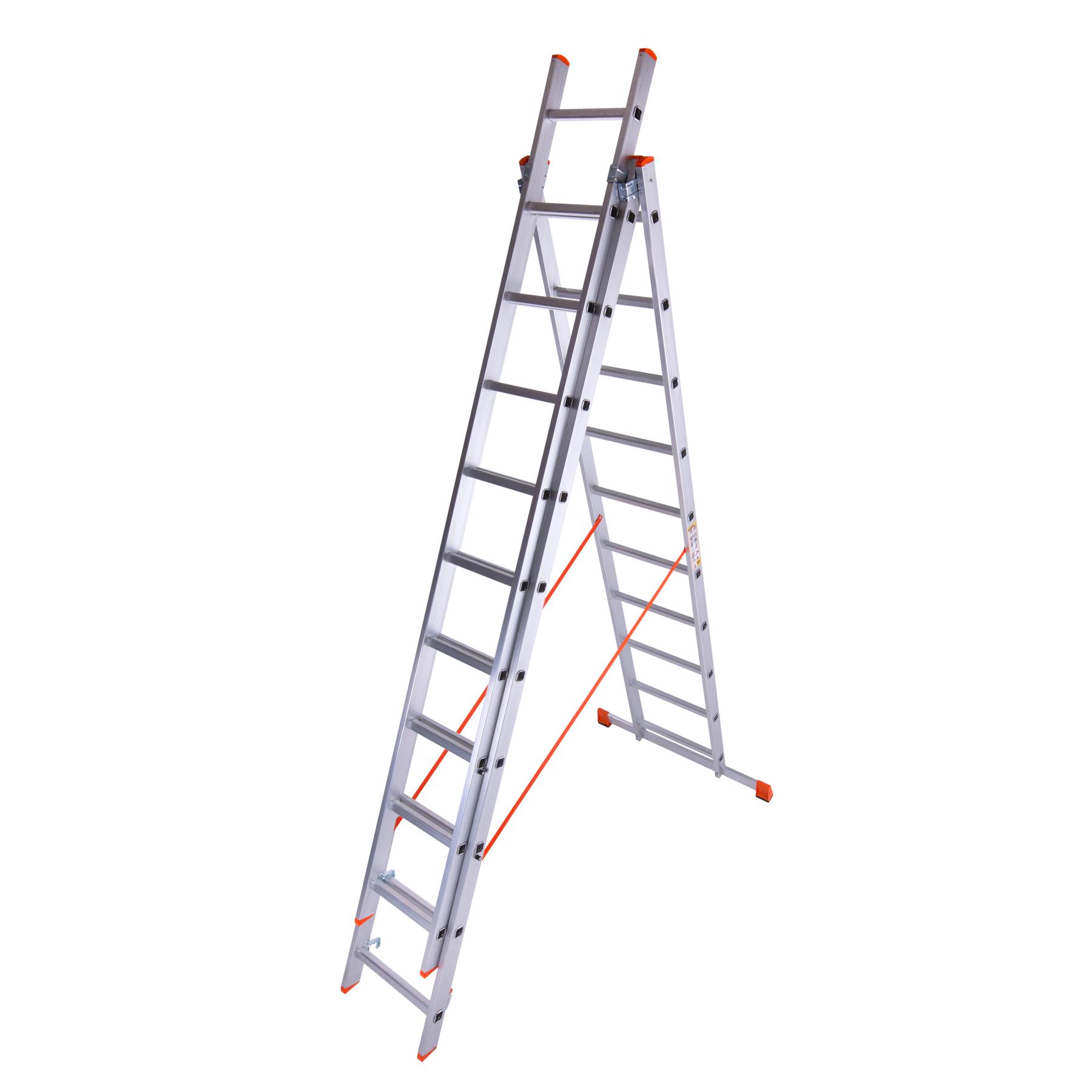 трехсекционная лестница с выдвигающейся секцией