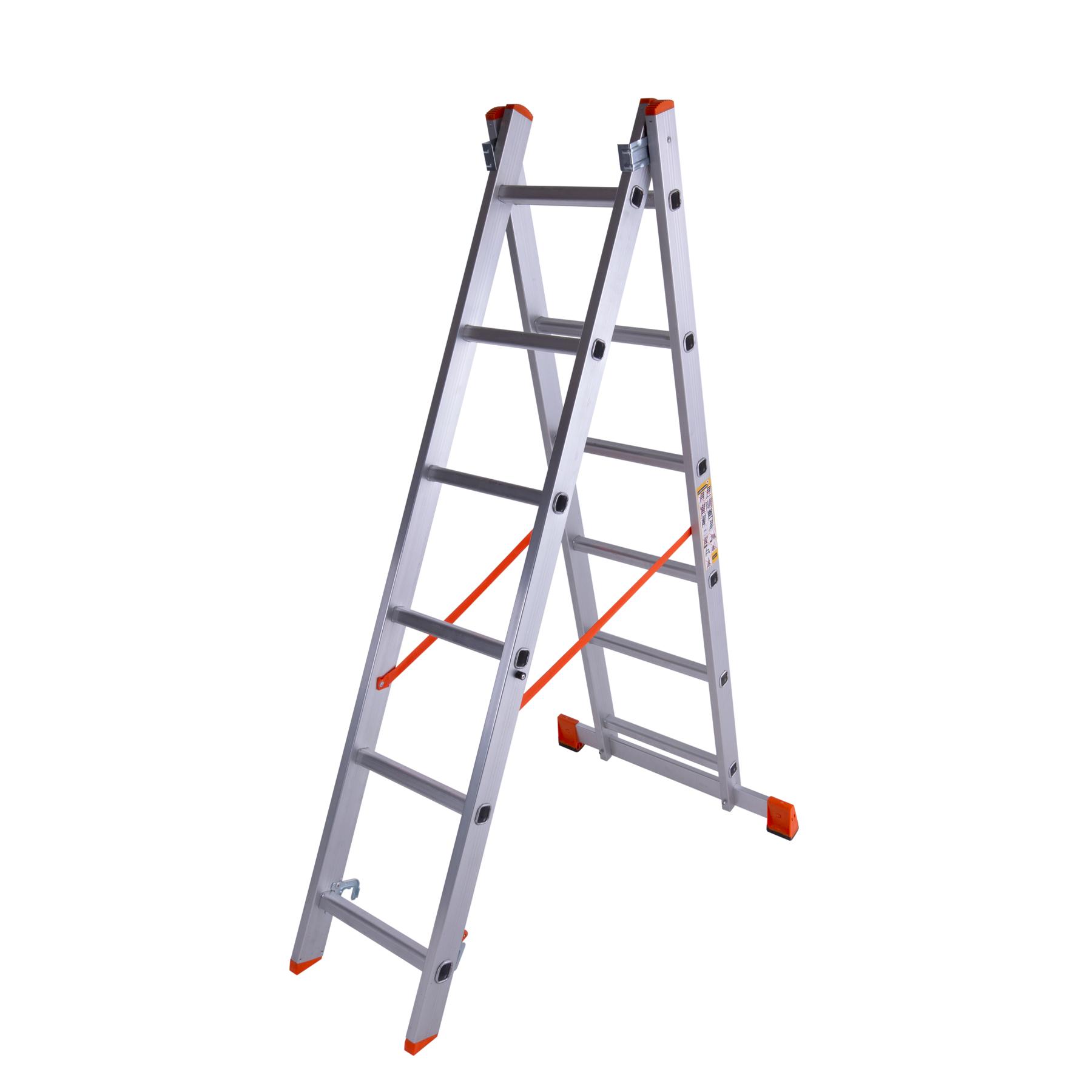 Лестница двухсекционная алюминиевая 2×6 ступенек