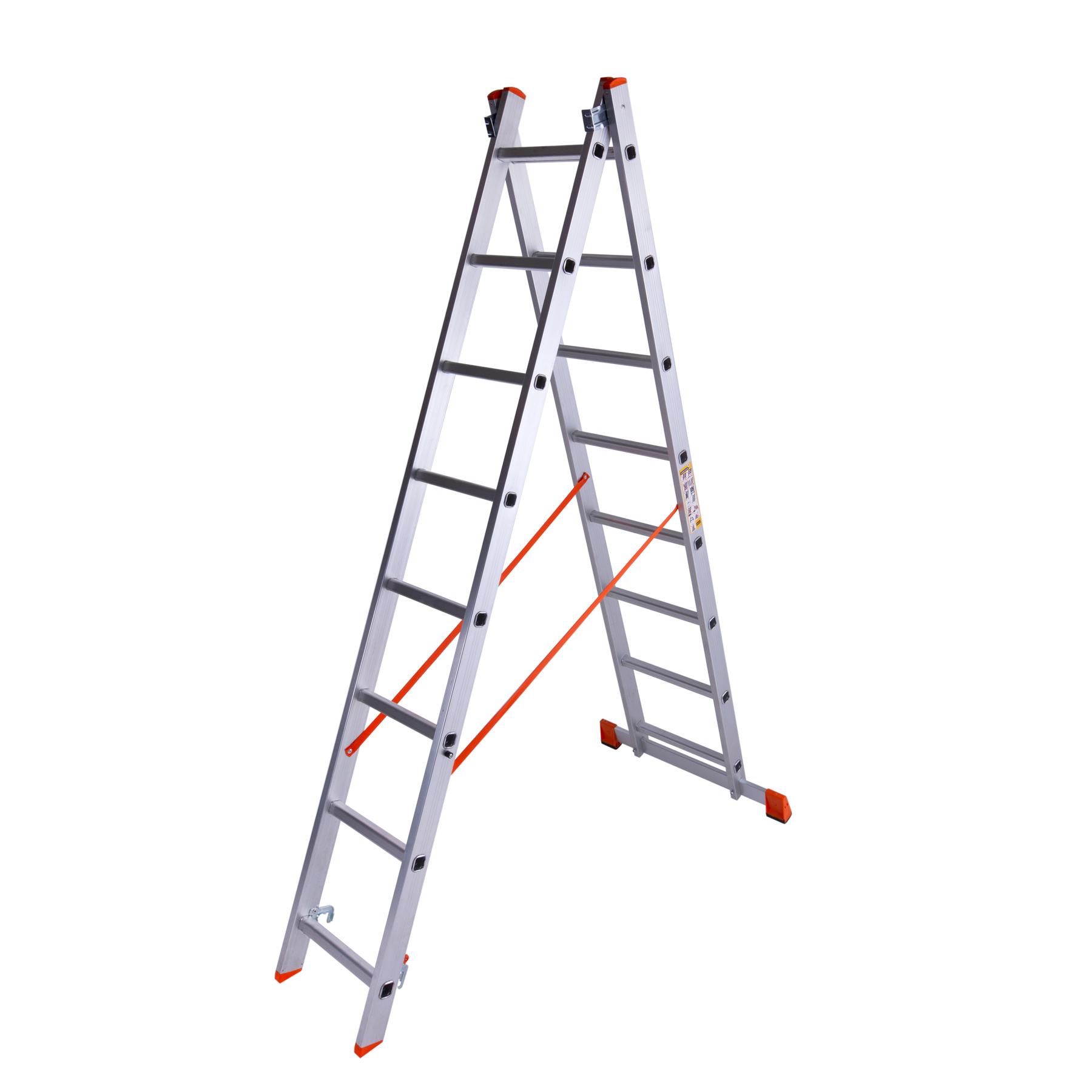Лестница двухсекционная алюминиевая 2×8 ступенек