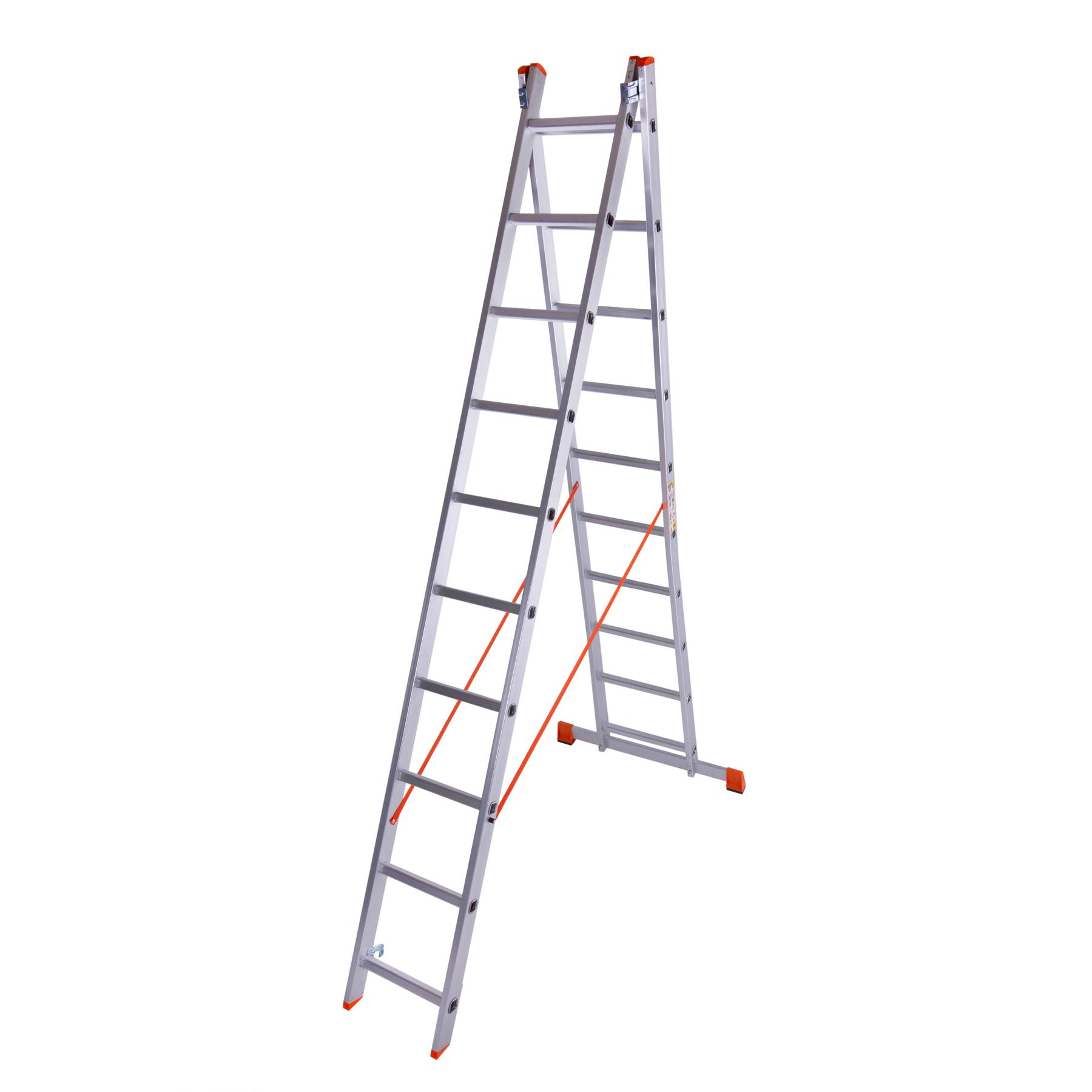 Лестница двухсекционная алюминиевая 2×10 ступенек