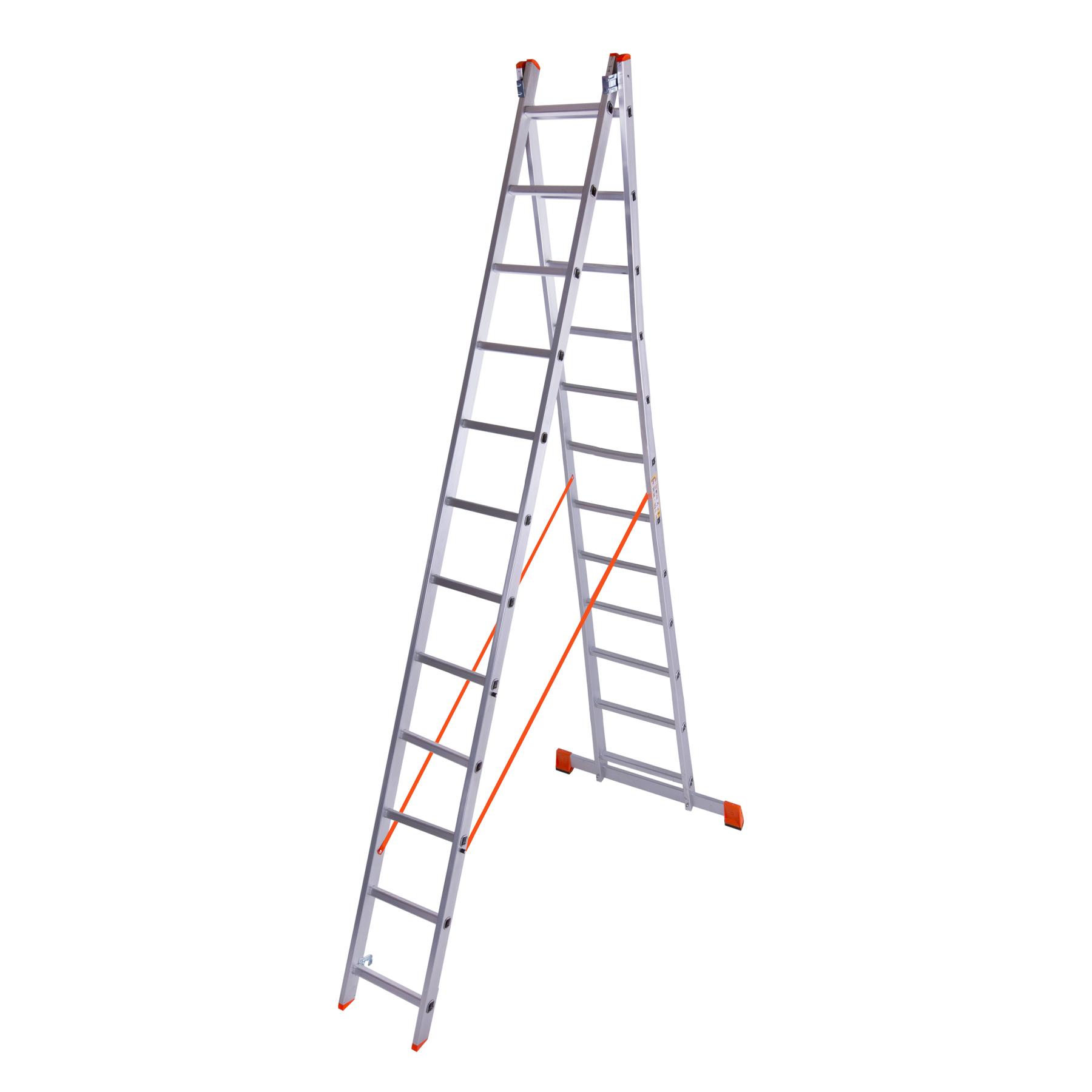 Лестница двухсекционная алюминиевая 2x12 ступенек