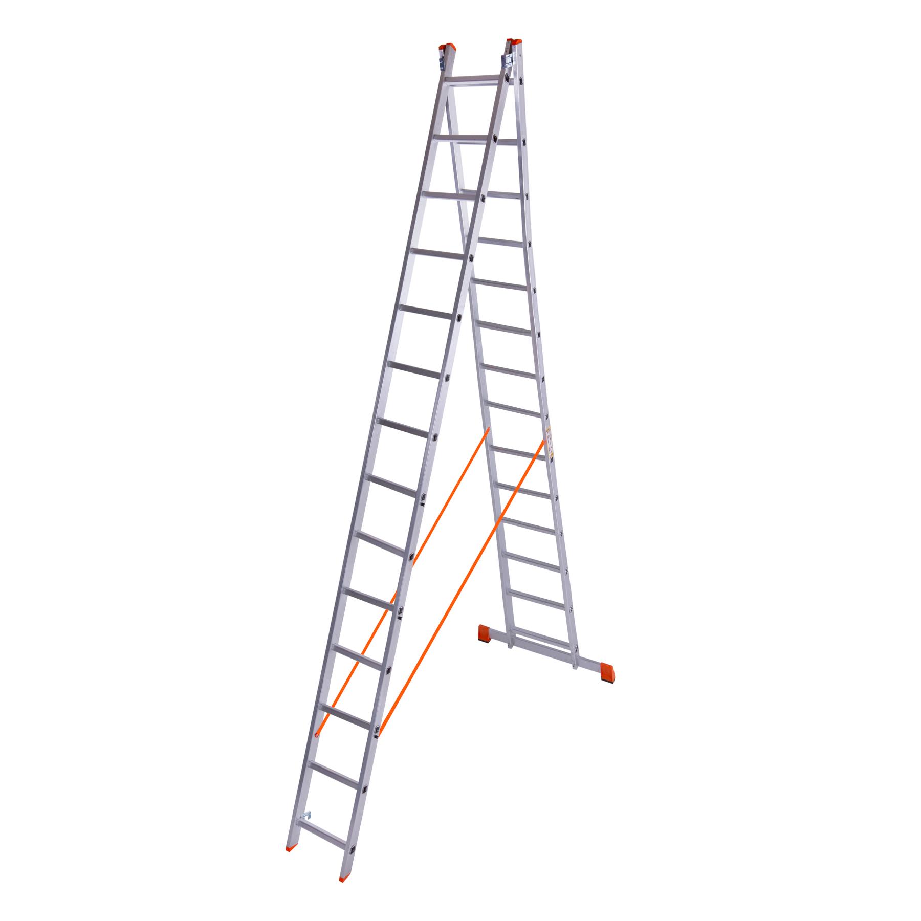 Лестница двухсекционная алюминиевая 2x14 ступенек