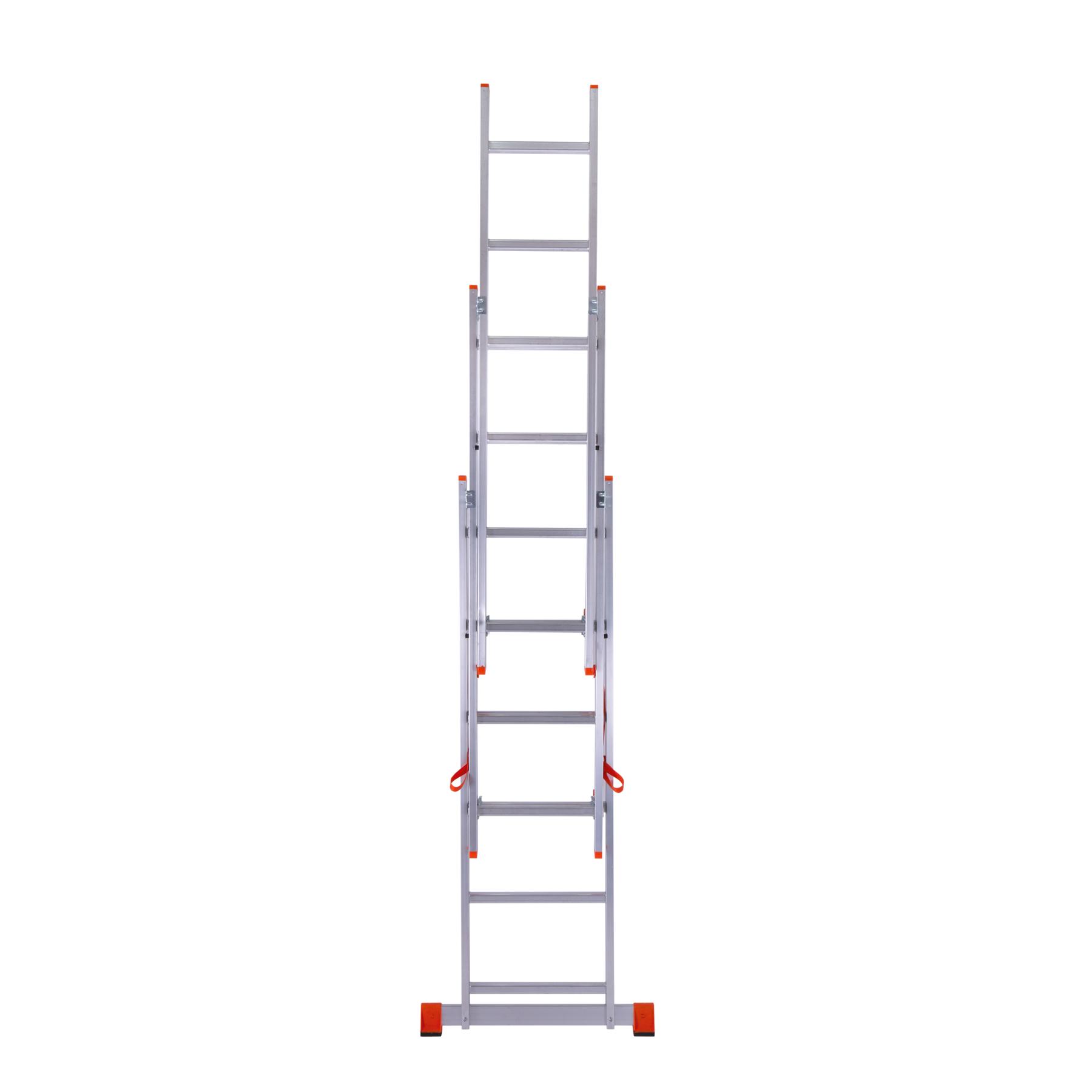 трехсекционная лестница трансформируется в приставную